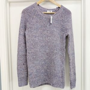 NWT GAP purple wool blend crew neck tunic sweater
